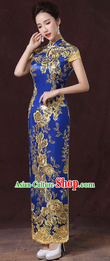 Bright Blue Traditional Handmade Shinning Sequined Cheongsam