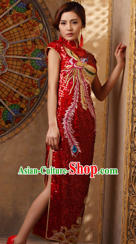 Sleeveless Traditional Handmade Embroidered Phoenix Shinning Sequined Cheongsam