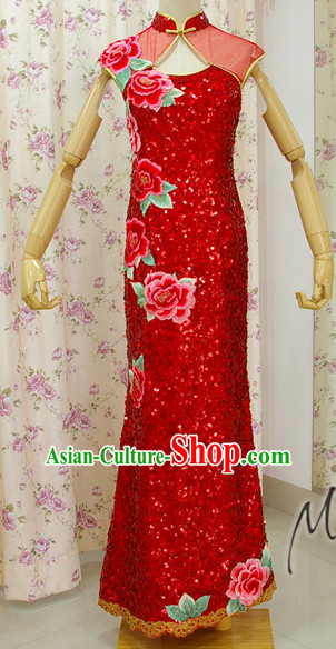 Traditional Handmade Shinning Sequined Peony Long Cheongsam