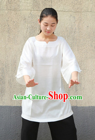 White Chinese Traditional Mandarin Martial Arts Tai Chi Kung Fu Gong Fu Competition Championship Suits Uniforms for Men Women Children