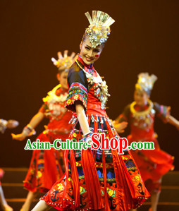 Chinese Traditional Ethnic Dance Dress Dancewear Costumes Dancer Costumes Dance Costumes Chinese Dance Clothes Traditional Chinese Clothes Complete Set for Women