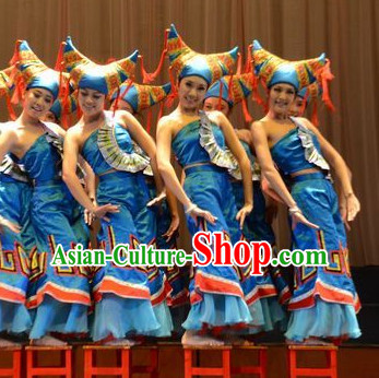 Chinese Traditional Ethnic Zhuang Dance Dress Dancewear Costumes Dancer Costumes Dance Costumes Chinese Dance Clothes Traditional Chinese Clothes Complete Set for Women