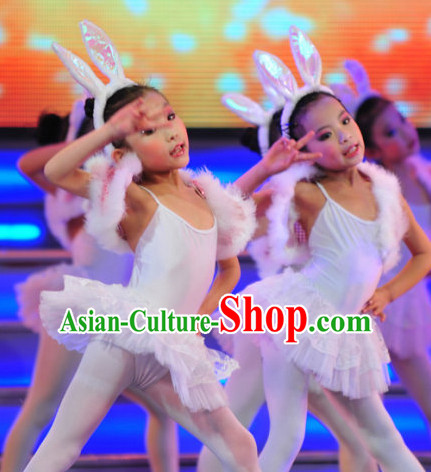 Chinese Traditional Stage Rabbit Dance Dress Dancewear Costumes Dancer Costumes Dance Costumes Chinese Dance Clothes Traditional Chinese Clothes Complete Set for Kids