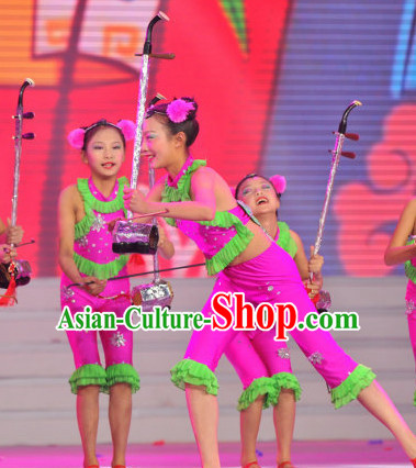 Chinese Traditional Festival Stage Dance Dress Dancewear Costumes Dancer Costumes Dance Costumes Chinese Dance Clothes Traditional Chinese Clothes Complete Set for Kids