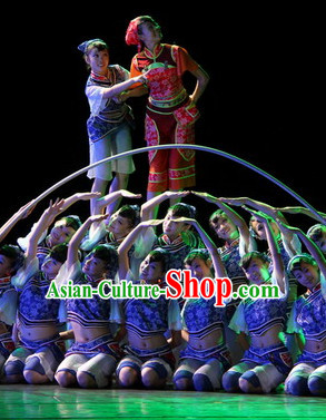 Chinese Stage Ethnic Dancing Dancewear Costumes Dancer Costumes Dance Costumes Chinese Dance Clothes Traditional Chinese Clothes Complete Set for Kids