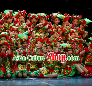 Chinese Ethnic Stage Dancing Dancewear Costumes Dancer Costumes Dance Costumes Chinese Dance Clothes Traditional Chinese Clothes Complete Set for Women Kids
