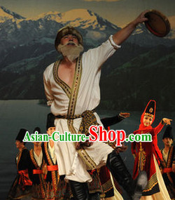 Chinese Stage Ethnic Minority Dancing Dancewear Costumes Dancer Costumes Dance Costumes Chinese Dance Clothes Traditional Chinese Clothes Complete Set for Men Kids