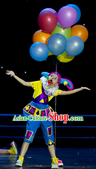 Chinese Stage Clown Dancing Dancewear Costumes Dancer Costumes Dance Costumes Chinese Dance Clothes Traditional Chinese Clothes Complete Set for Men Kids