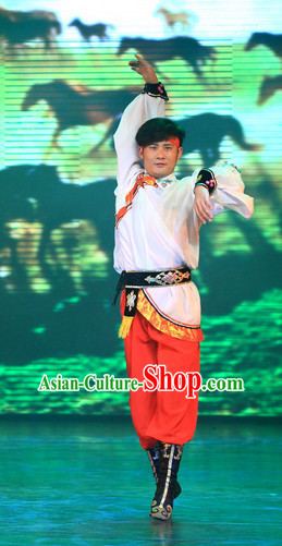 Chinese Stage Mongolian Dancing Dancewear Costumes Dancer Costumes Dance Costumes Chinese Dance Clothes Traditional Chinese Clothes Complete Set for Men Kids