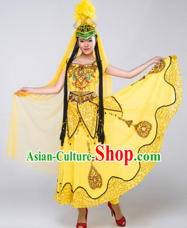 Chinese Stage Xinjiang Dancing Dancewear Costumes Dancer Costumes Dance Costumes Chinese Dance Clothes Traditional Chinese Clothes Complete Set for Women Children