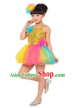 Chinese Traditional Stage Dance Dancewear Costumes Dancer Costumes Dance Costumes Clothes and Headdress Complete Set for Children