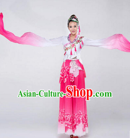 Chinese Stage Water Sleeve Dancewear Costumes Dancer Costumes Dance Costumes Chinese Dance Clothes Traditional Chinese Clothes Complete Set for Women Children