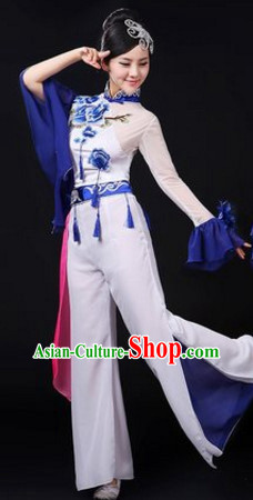 Chinese Traditional Stage Mandarin Dance Dancewear Costumes Dancer Costumes Dance Costumes Clothes and Headdress Complete Set for Women