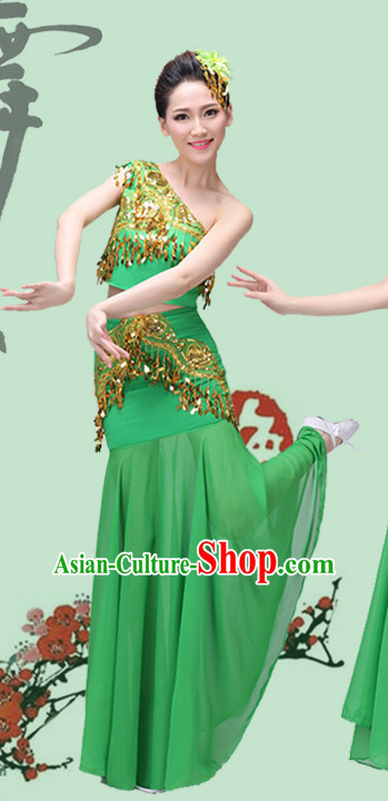Green Chinese Traditional Stage Dai Minority Ethnic Dance Dancewear Costumes Dancer Costumes Dance Costumes Clothes and Headdress Complete Set for Women