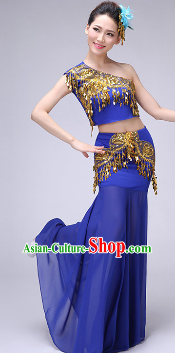 Blue Chinese Traditional Stage Dai Minority Ethnic Dance Dancewear Costumes Dancer Costumes Dance Costumes Clothes and Headdress Complete Set for Women