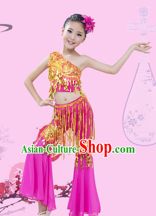 Purple Chinese Traditional Stage Dai Minority Ethnic Peacock Dance Dancewear Costumes Dancer Costumes Dance Costumes Clothes and Headdress Complete Set for Girls Kids