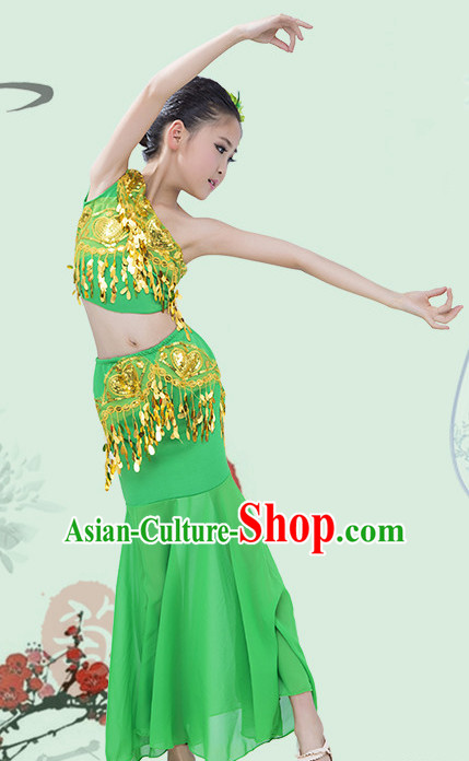 Green Chinese Traditional Stage Dai Minority Ethnic Peacock Dance Dancewear Costumes Dancer Costumes Dance Costumes Clothes and Headdress Complete Set for Girls Kids