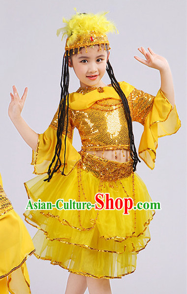 Yellow Chinese Traditional Stage Xinjiang Minority Ethnic Dance Dancewear Costumes Dancer Costumes Dance Costumes Clothes and Headdress Complete Set for Girls Kids