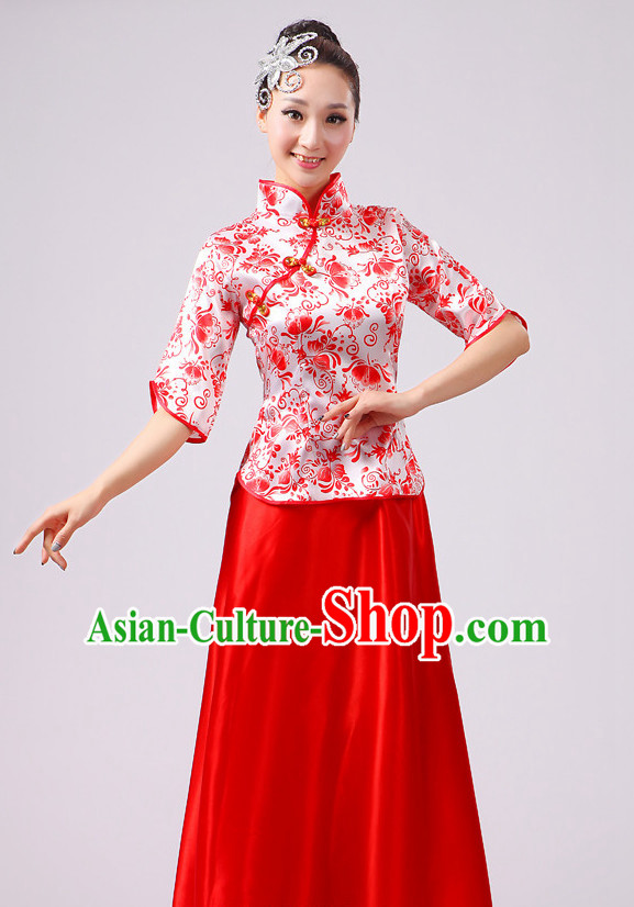 Chinese Traditional Stage Folk Dance Dancewear Costumes Dancer Costumes Dance Costumes Clothes and Headdress Complete Set for Girls Ladies