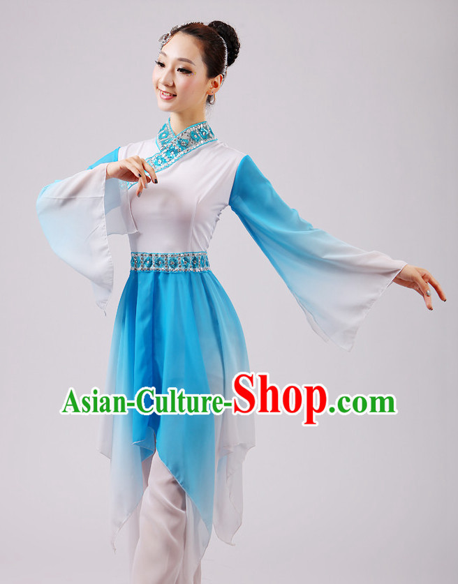 Chinese Traditional Stage Fan Dance Dancewear Costumes Dancer Costumes Dance Costumes Clothes and Headdress Complete Set for Girls Ladies