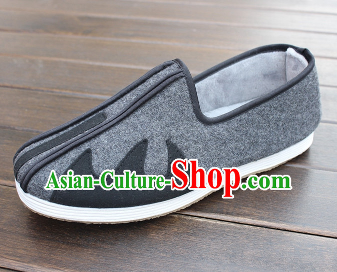 Top Grey Winter Wear Chinese Traditional Tai Chi Shoes Kung Fu Shoes Martial Arts Shoes for Men