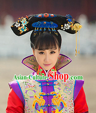 Chinese Classical Princess Queen Hair Jewelry Headwear Headdress and Long Wigs
