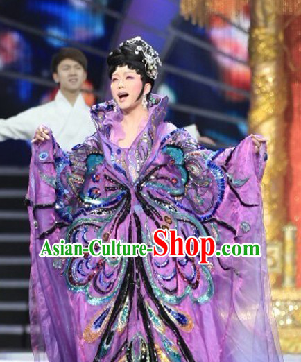 High Collar Chinese Traditional Ancient Empress Butterfly Costumes Garment and Hair Jewelry Complete Set for Women Girls
