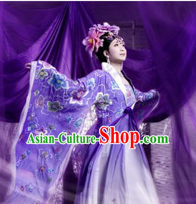 Tang Dynasty Chinese Traditional Ancient Empress Butterfly Costumes Garment and Hair Jewelry Complete Set for Women Girls