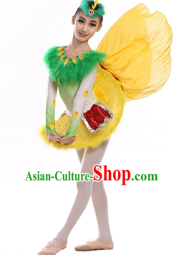 Chinese Traditional Bird Dance Costumes and Hat Complete Set for Kids
