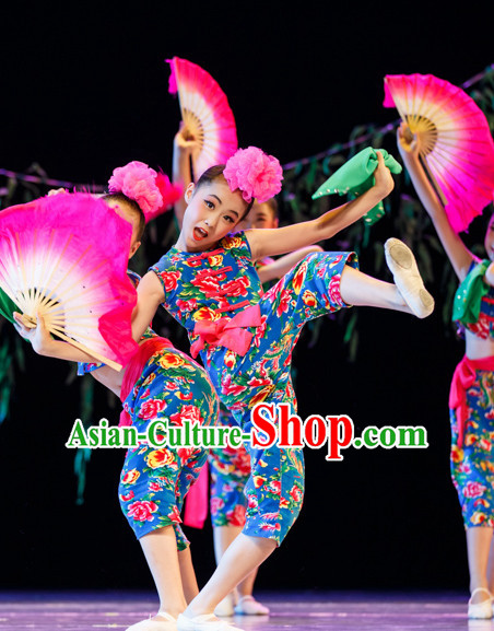 Chinese Folk Fan Dance Costumes Complete Set for Kids Girls