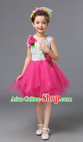 Chinese Primary School Students Dance Outfits Costumes Complete Set for Kids Girls