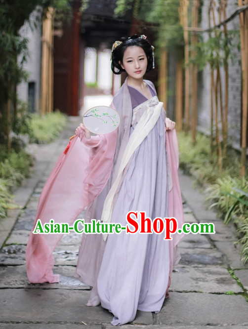 Traditional Asian Chinese Tang Dynasty Female Han Clothing Garment Hanfu Clothes Complete Set