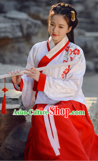Top Chinese Ming Dynasty Beauty Wedding Hanfu Clothing Chinese Hanfu Costume Hanfu Dress Ancient Chinese Costumes and Hair Jewelry Complete Set for Women Girls Children