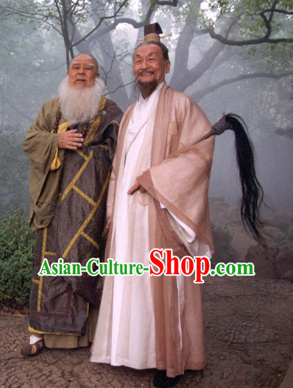 Chinese Ancient Male Taoist Costumes and Horsetail Whisk Complete Set