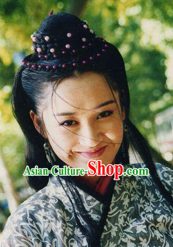Chinese Ancient Xiao Ao Jiang Hu TV Series Ren Yingying Long Wigs and Hair Jewelry Set