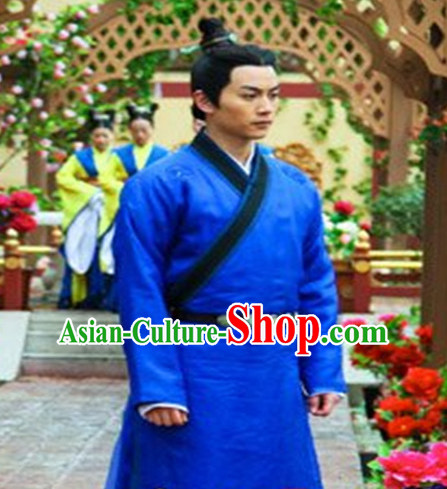 Chinese Ancient Style Hanfu Dress Clothing Costumes Complete Set for Men