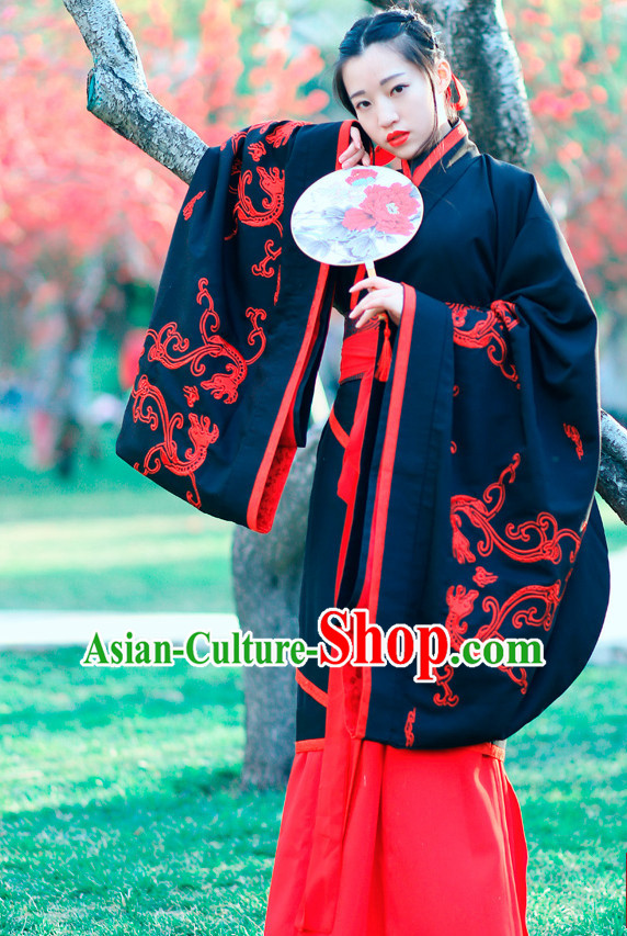 Ancient Chinese Embroidered Black Red Hanfu Dress China Traditional Clothing Asian Long Dresses China Clothes Fashion Oriental Outfits for Women