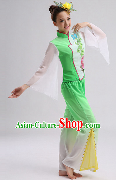 Green Chinese Folk Fan Dancing Costumes and Headdress Complete Set for Women