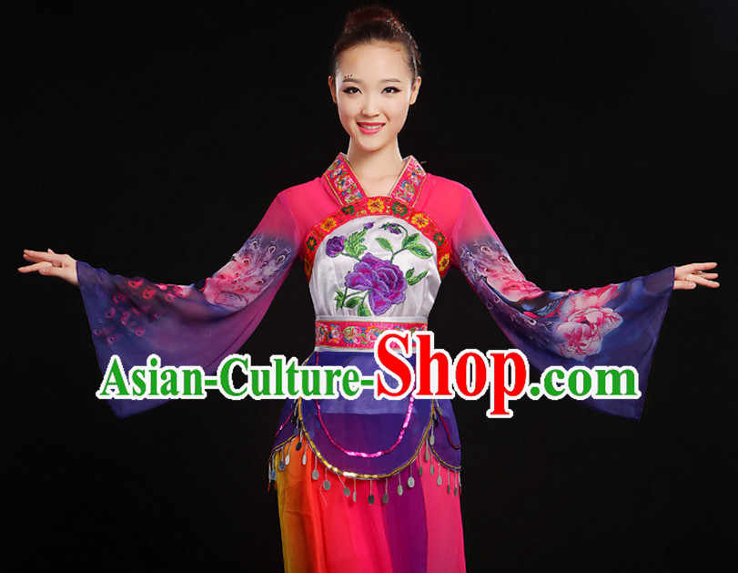 Chinese Classic Dance Costumes Dancewear and Hair Decorations Complete Set for Women or Girls