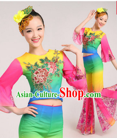 Chinese Classic Dance Costumes Dancewear and Headdress Complete Set for Women or Girls