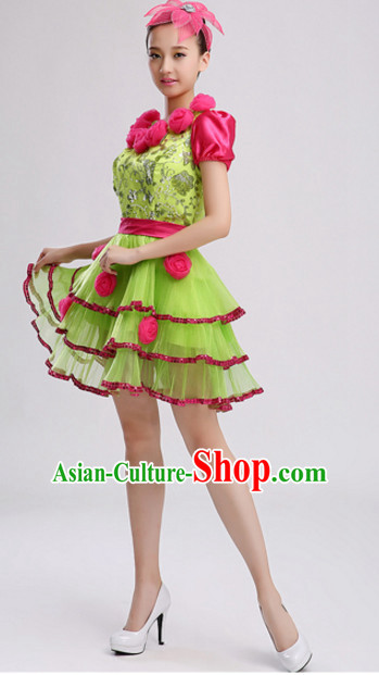 Chinese Stage Performance Dance Costumes and Headdress Complete Set for Women