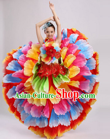 Chinese Stage Performance Colorful Flower Dance Costumes and Headdress Complete Set for Women