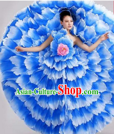 Blue Chinese Flower Petal Dance Costumes and Headdress Complete Set for Women