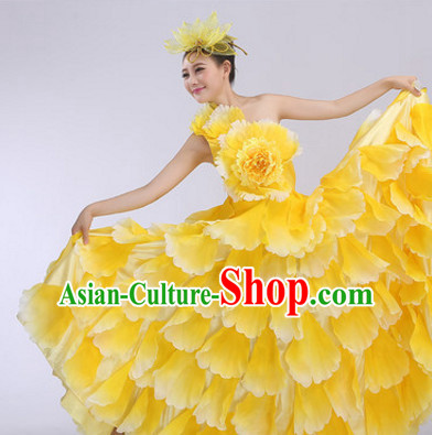 Yellow Chinese Flower Petal Dance Costumes and Headdress Complete Set for Women