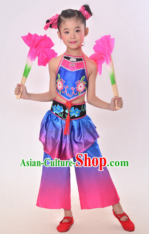 Chinese Folk Fan Dance Costumes and Headdress Complete Set for Children Girls