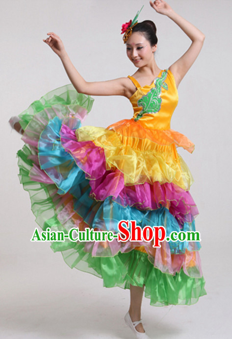 Chinese Stage Performance Ballroom Dance Costumes and Headdress Complete Set for Women Girls