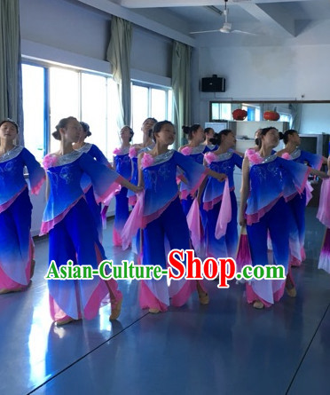 Chinese Stage Performance Wide Sleeves Classical Fan Dance Costumes and Headdress Complete Set for Women Girls