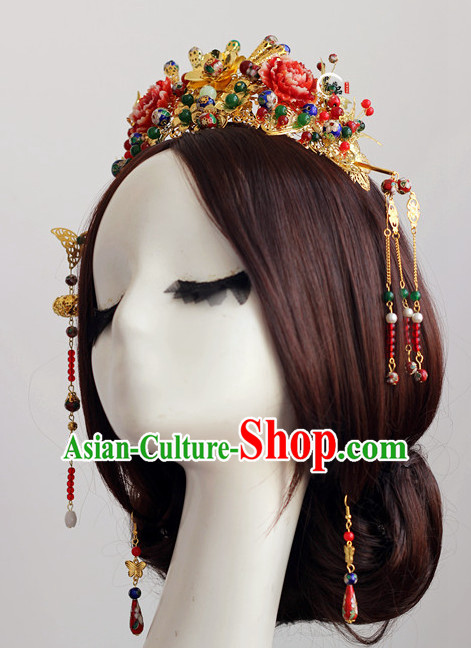 Top Chinese Traditional Wedding Headpieces Hair Jewelry Bridal Hair Clasp Hairpins Set