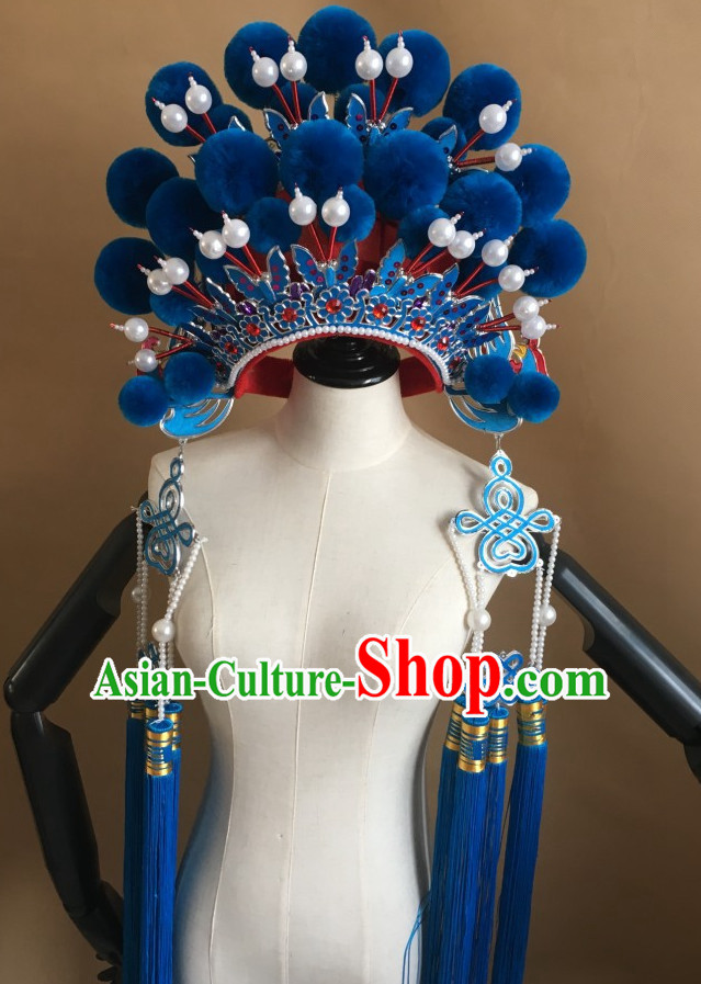 Blue Chinese Traditional Opera Phoenix Coronet Hat