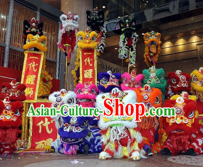 Supreme 100_ Long Natural Wool Chinese Southern Lion Dance Equipments Complete Set